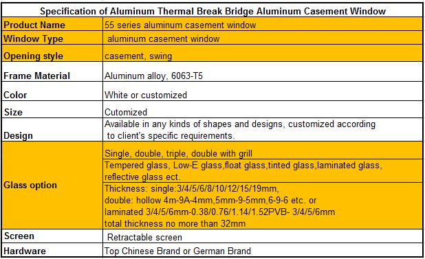 Thermal break bridge Aluminum casement window